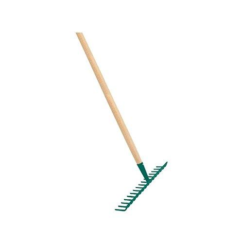 Cap Vert - Râteau soudé dents courbes / Emmanché 1,50 m - 14 dents