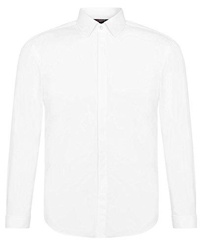 CRIXUS Herren Langarm Hemd Slim Fit Manschettenhemd Bügelleicht Weiß Creme Ivory (3XL - Kragenweite: 47/48, Weiß)