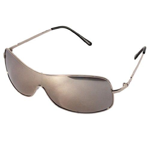 CHICNET Hochwertige Sonnenbrille schmal Monoscheiben Piloten Brille Metall getönt 400 UV unisex Bügelkappen silber