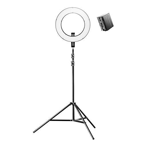 Walimex pro LED Ringleuchte 380 Bi Color Plus Stativ und NP-F Akku - modernes LED Ringlicht, Ø 38 cm, dimmbar, 3200-5600K, Betrieb per Akku oder Netzteil, mit 6600mAh Akku und Lampenstativ 260 cm