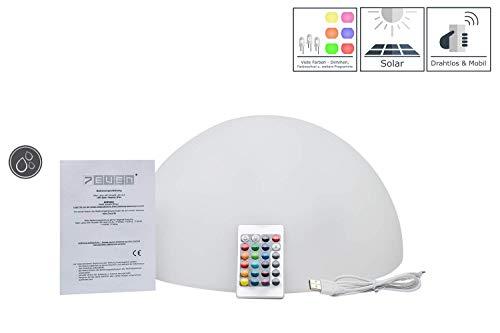 7even LED Solar Halbkugel 35 x 35 x 19 cm/Solar & USB betriebene Leucht-Halb-Kugel mit Farbwechsel