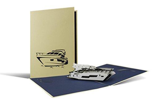 B13 Yacht, Superyacht als Pop Up Karte, Gutscheinkarte für Sportbootführerschein, tolles Geschenk