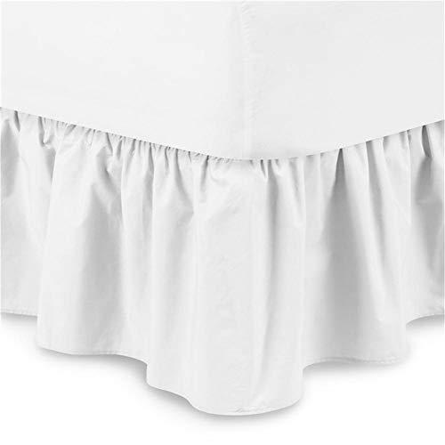Chengstore - Mantovana per letto in tinta unita, non copre il letto, con volant elastico, facile da montare, dona un'atmosfera calda, bianco, B:200*200+38cm
