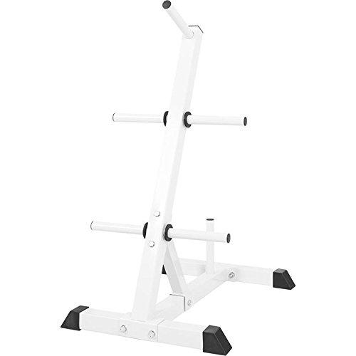 GORILLA SPORTS® Hantelscheibenständer mit 6 Aufnahmen 30/31 mm Weiß/Schwarz – bis 200 kg belastbar