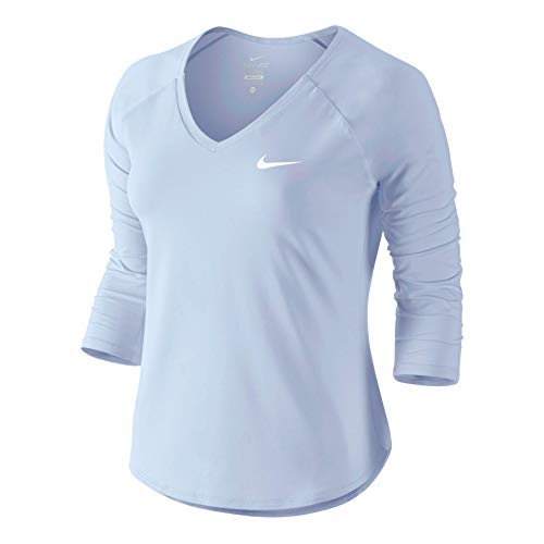 Nike Damen Pure 3/4 Sleeve Shirt Royal Tint/White S