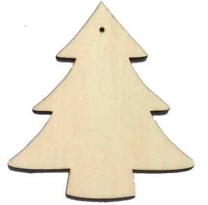 10 x wooden christmas tree shapes plain wood craft tags with hole 100mm 10cm - Wood Christmas Tree