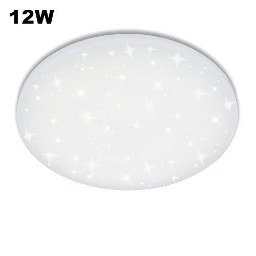 VGO 12W Plafonnier LED Blanc Moderne Étoiles Ronde Ciel Intérieur Lampe Mur Plafonnier Luminaire Salle de Bains Lampe Salon Chambre Salle à Manger Lampes Design Distinctif Classe Énergétique A ++