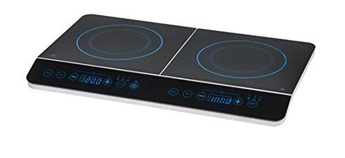 MEDION MD 15324 Doppel-Induktionskochplatte mit je 20cm Durchmesser (3500 Watt, Sensor Bedienknöpfe, 10 Temperaturstufen einstellbar) schwarz