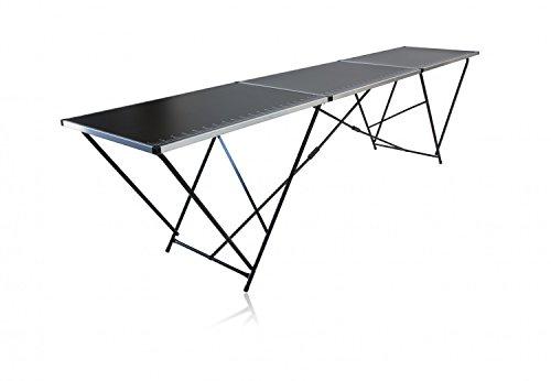 Tapeziertisch 3000 x 60 cm, 3 teiliger Klapptisch, Gewicht 10,6 kg, Stahlrohrgestell, Multifunktionstisch fürs Tapezieren, Arbeiten, Camping u.v.m.