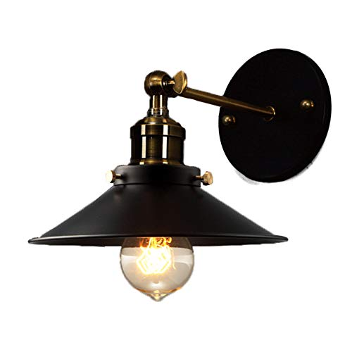 XSGDMN Wall Sconces, 1-Pack Black Industrial Vintage Wall Lamp Fixture Simplicity Bronze Finish Arm Swing Wall Lights for Living Room Decoration,Umbrella -