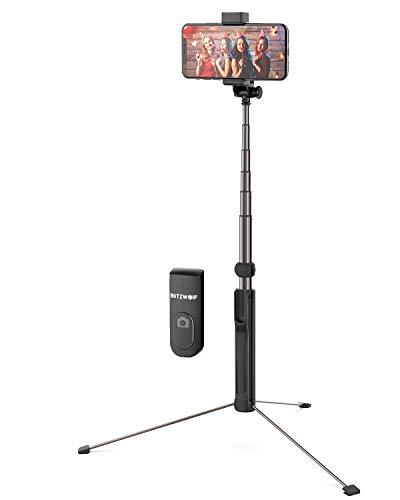 BlitzWolf Bluetooth Selfie Stick Stativ, 160cm Erweiterbar Monopod Wireless Selfie-Stange Stab mit Bluetooth-Fernauslöse für iPhone X/iPhone 8/8 Plus/iPhone 7, Galaxy S9/S9 Plus/S8/S8 Plus, Huawei