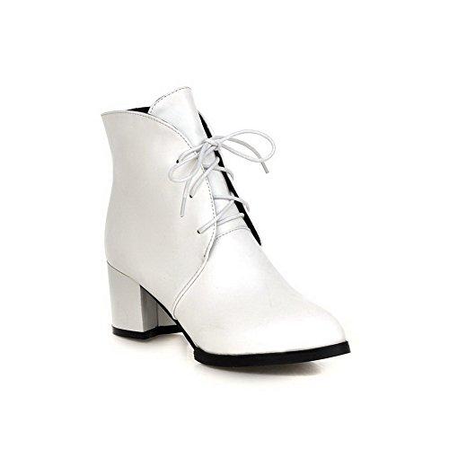 VogueZone009 Damen Schnüren Hoher Absatz PU Leder Niedrig-Spitze Stiefel, Weiß, 42