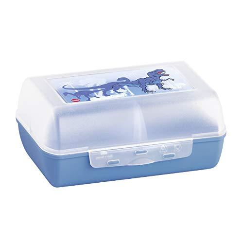 Emsa 513795 Brotdose für Kinder, Herausnehmbare Trennwand, Dinomotiv, Blau, Variabolo Dino