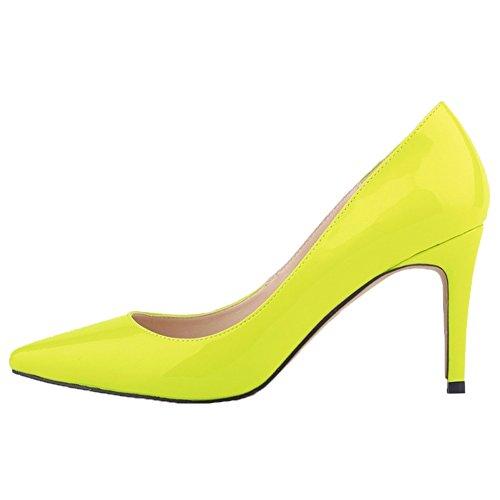 HooH Femmes Pointu Stiletto Chaussures De Mariage Escarpins Citron