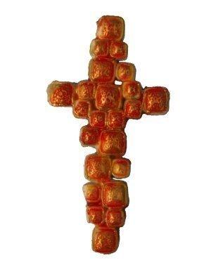 Wachsverzierornament Kreuz in rot, orange und gelb, gold bemalt