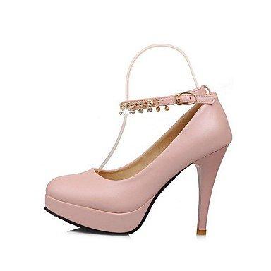 Moda Donna Sandali Sexy donna tacchi alti materiale morbido fibbia solido Round punta chiusa Pumps-Shoes Pink