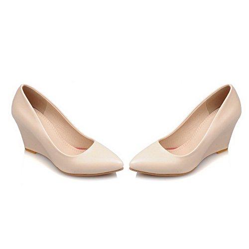 AllhqFashion Femme Couleur Unie à Talon Haut Pointu Tire Chaussures Légeres Abricot
