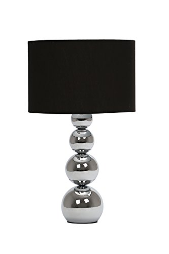 Premier Housewares Luma Cameo 4 Graduated Ball Silver Metal with Black Shade Touch Lamp Best Price and Cheapest