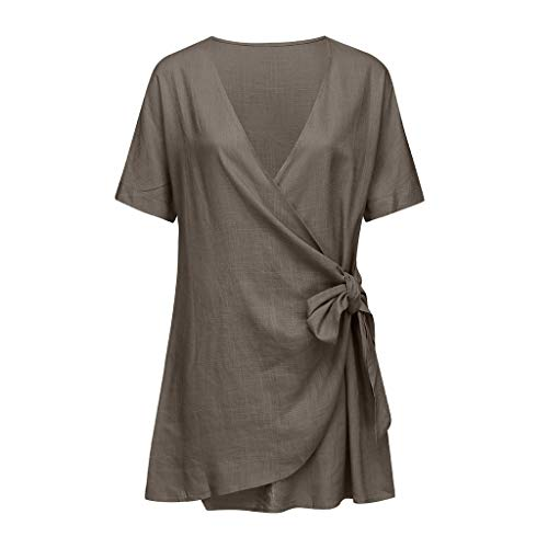 (Women Lady's V-Neck Solid Sexy Slim Beach Holiday Wrap Irregular Dress, Spring Sale)