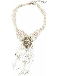 J. Jayz Collar largo con piedras brillantes y perlas bisuteria para mujer