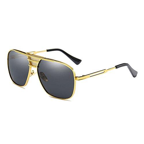 SHEEN KELLY Retro Polarisierte Sonnenbrillen Große Square Brillen Herren Sonnenbrillen Aluminium Magnesium Rahmen Gold UV400 Männer Pilot Metall Spiegel