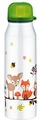 alfi 5337.703.050 Isolier-Trinkflasche isoBottle II, Edelstahl Forest Animals Weiß 0,5 l, 12 Stunden heiß, 24 Stunden kalt, BPA-Free