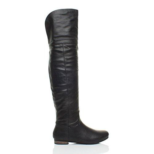 Femmes plat petit talon collier pirate riding au cours genou bottes taille Noire Mate