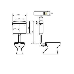 Regiplast 251 WC-Tank Bi-Flo, 2-Mengen-Spülung, halbtief