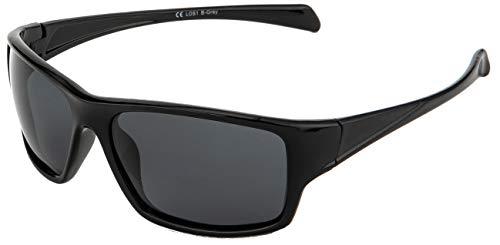 La Optica B.L.M. Sonnenbrille UV400 CAT 3 Unisex Damen Herren Leicht Sport Fahrradbrille - Schwarz (Gläser: Grau)