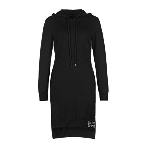 Trendiger Designer Damen Hoodie Kleid Minikleid Pullover lang schwarz (XS)