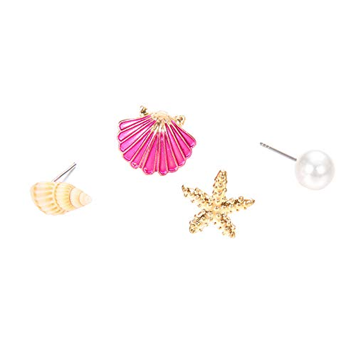 Originaltree Ohrringe 4-Teiliges Set Sommer Strand Seestern Seashell Nachahmung Pearl Damen-Ohrstecker Geschenk goldfarben