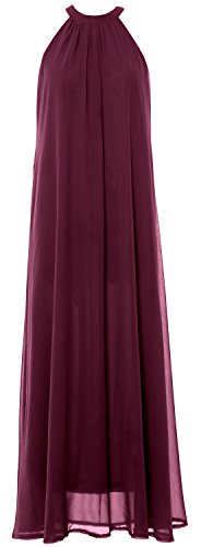 MACloth Women Sleeveless Halter Chiffon Long Evening Gown Formal party Dress Wine Red