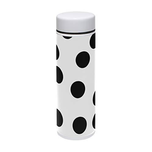 Black Dots Botella de acero inoxidable aislada al vacío, termo de 7.4 onzas, mantiene el agua fría durante 24 horas, caliente para 12 horas café taza de viaje