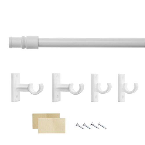 Lichtblick CS.085.01 Cafehausstange Florida, ausziehbar - Weiß 80 - 135 cm