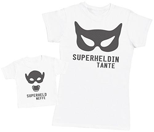 Superheld Neffe & Superheldin Tante - Passende Tante Baby Geschenk Set - Damen T-Shirt & Baby T-Shirt - Weiß - M & 92 (2-3 ()