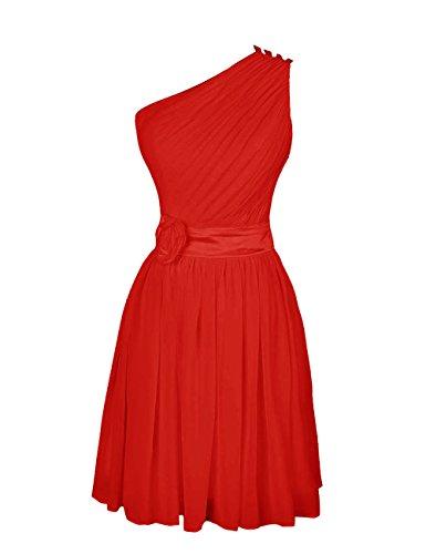 Dressystar Robe femme,Robe de soirée/de bal,courte en Mousseline Rouge