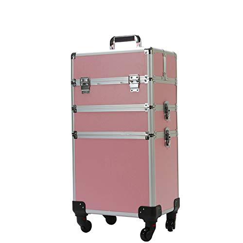 WANGXN Make-up Case Vanity Lockable Extra Large Professional Large Aluminium Beauty Makeup Trolley,Pink,35x26X61CM Rosa Vanity Case
