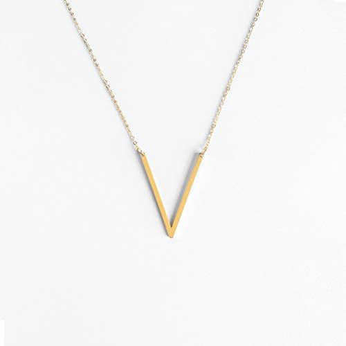 ILLISIO Big Letter Necklace | Damen Edelstahl Halskette | personalisierte Kette mit großem Buchstaben Anhänger in Gold, Silber und Roségold (V, Gold) - Vergoldete Edelstahl Kette