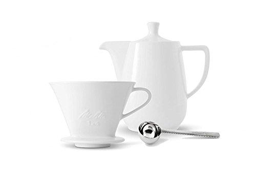 Friesland Melitta Kaffeefilter 1x4 1 Loch Porzellan weiss + Kaffeekanne 0,6L + Kaffeemaßlöffel
