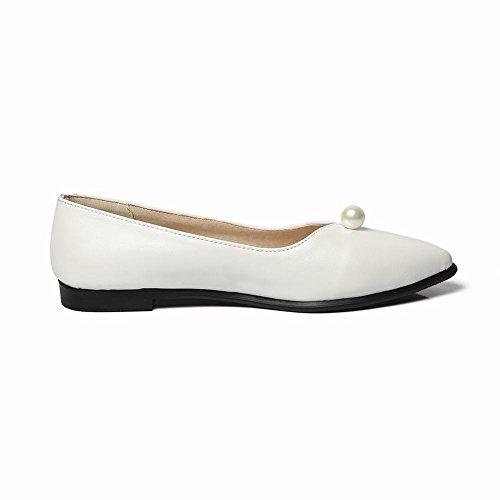 Mee Shoes Damen flach Geschlossen Perle Dekoration Pumps Weiß