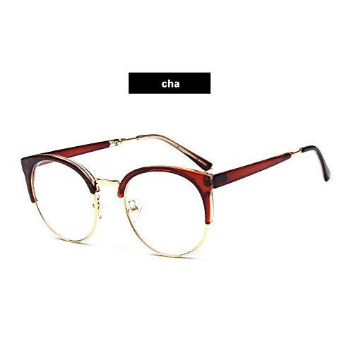 YMTP Cat Eye Brillen Rahmen Transparente Gläser Half Frames Übergroße Brillen Optische Spektakel Kurzsichtige Brillen Frauen, Cha