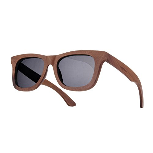 UNISEX (Damen Heren) Holz Sonnenbrille Polarisiert Vintage Retro Brille UV400 Protection Morefaz(TM)