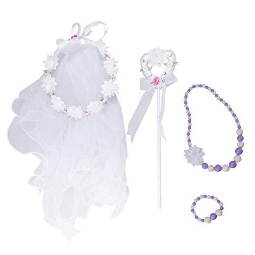 Lurrose 4 stücke Blumenmädchen Stirnband mit Schleier Prinzessin Angel Stick Halskette Armband Fee Kostüm Sets für Mädchen Kinder Geburtstag Hochzeit (Weiß) (Kommunion Die Kinder Erste Schleier)