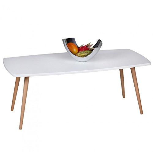 FineBuy mesa de cafŽ retro 110 x 50 x 42 cm MDF, blanco mate patas de haya