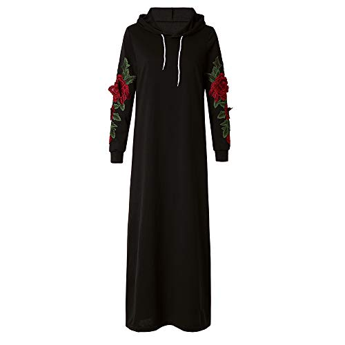Xmiral Damen Kleid Casual Langarm Polyester Kordelzug Floral Stickerei Pullover Mit Kapuze Maxi Kleid (3XL,Schwarz)