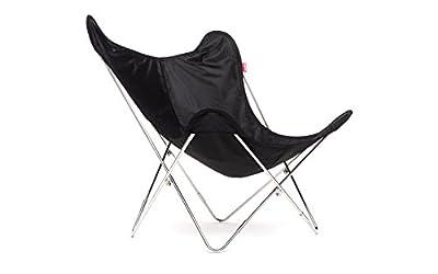 ROOMOX Klappbarer Sessel Butterfly Chair mit Wasserdichtem Polyester Sitz in Schwarz – Transportabler Stuhl für Drinnen und Draußen mit Tragetasche, 1930'er Hardoy Design Sessel, einfache Montage, Edelstahlgestell, LxWxH = 81x83x89 cm, Sitzhöhe 38 cm