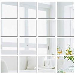 (15 * 15cm) 16pz Adesivo Specchio Quadrato Decorazione per Parete Muro Casa Armadio