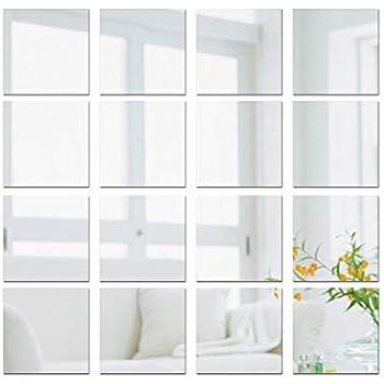 vidaXL 24x Carreaux de Miroirs Carr/é Verre Miroir Mural D/écoration de Maison