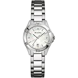 Bulova Ladies Women's Designer Diamond Watch - Stainless Steel Bracelet Wrist Watch 96W205