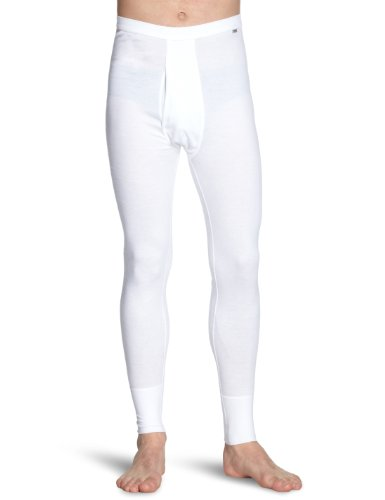 Huber Herren lange Unterhose Comfort Pant lang mit Eingriff Weiß (WEISS 0500)